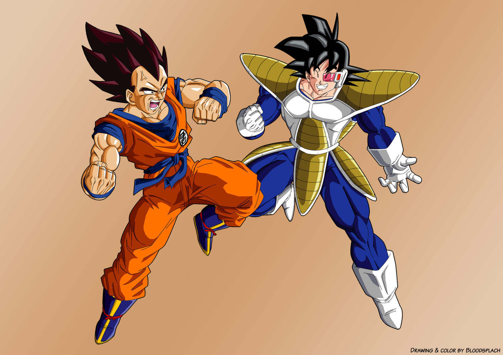 Goku vs Vegeta ex cloth by bloodsplach