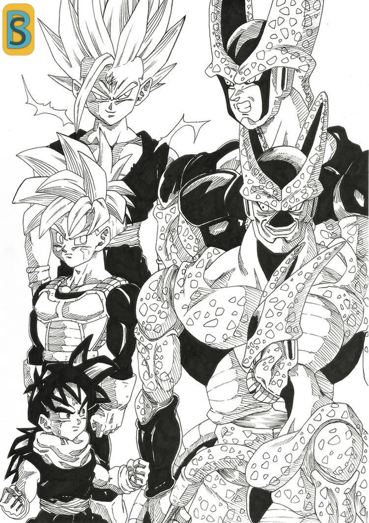 Gohan and Cell by bloodsplach