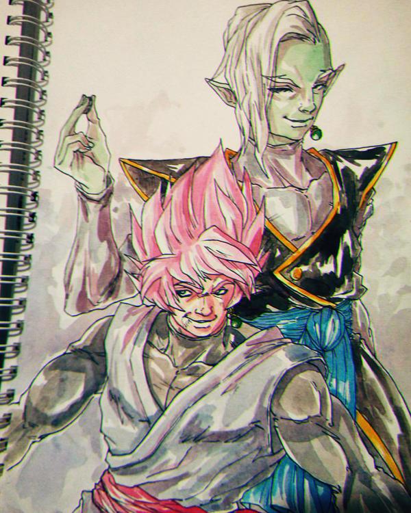 Zamasu and Black Goku by bloodsplach