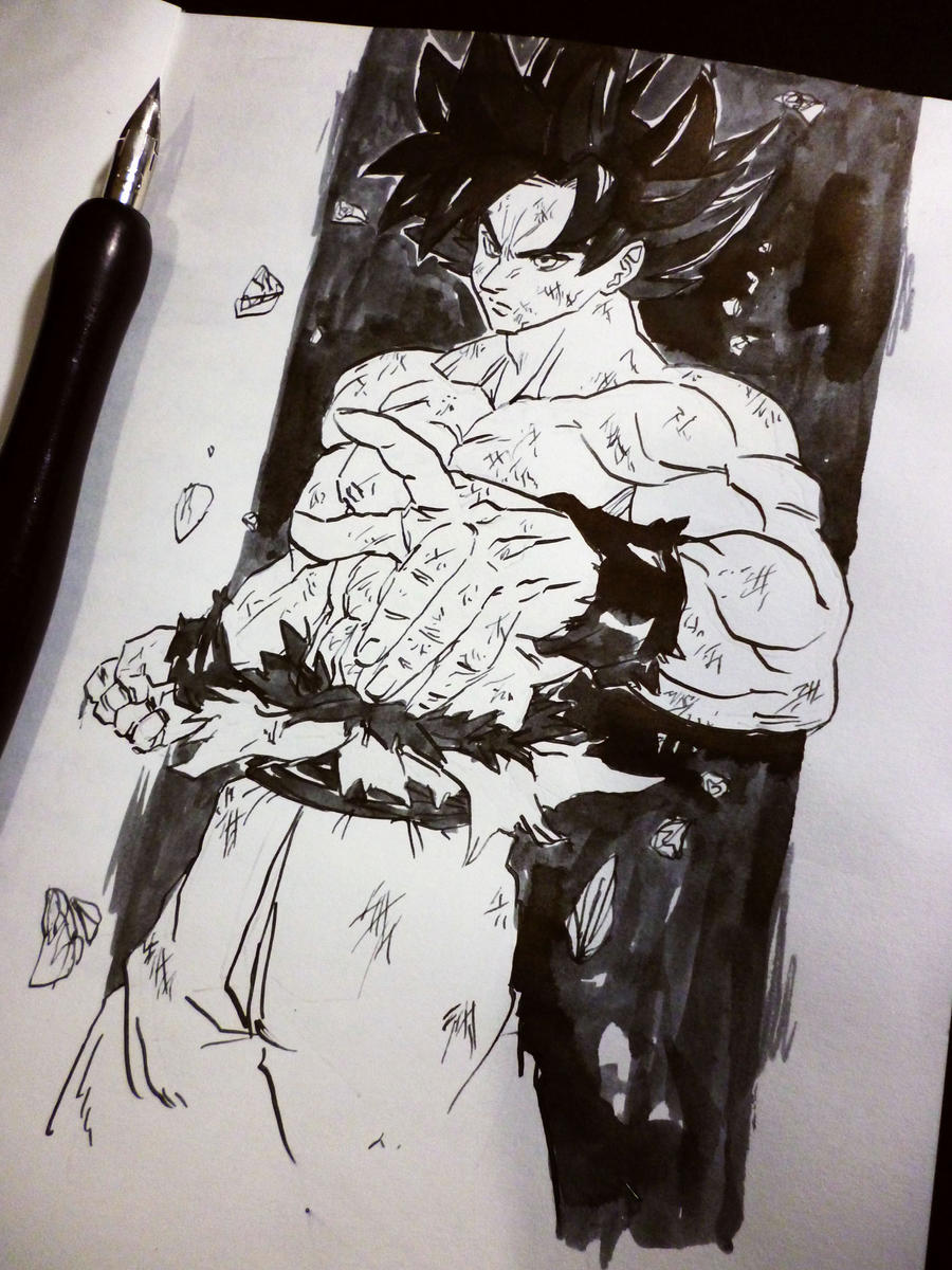 Ultra instinct goku by blood splach on deviantart - Goku ultra instinct sketch ...