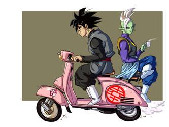 Goku Black and Zamasu Chilling by Blood-Splach