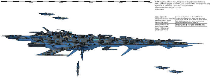 N. M. Sapphirus Combat Ship Mitzon - Retrofit II