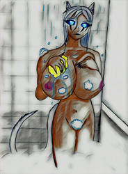 In the shower with Morgan by EliFrost