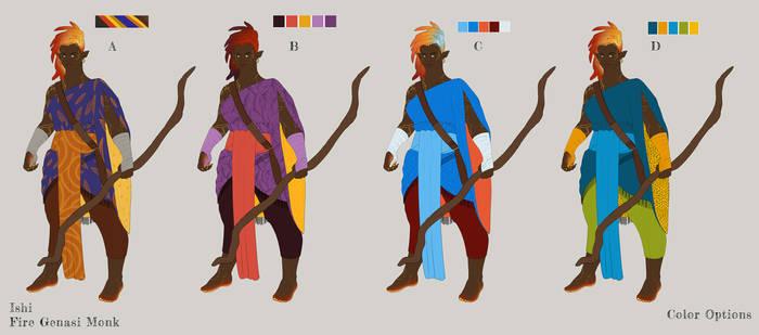 Ishi, Fire Genasi Monk - color variations