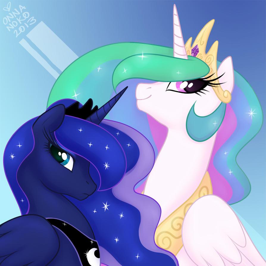 Princess Portraits: Celestia and Luna by onnanoko