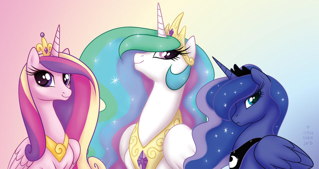 Princess Portraits~ Cadance, Celestia, and Luna by onnanoko