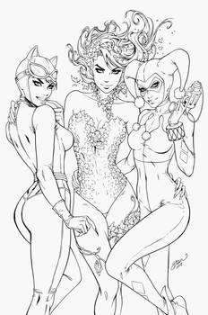 Poison Ivy, HarleyQuinn, Catwoman - Dawn McTeigue