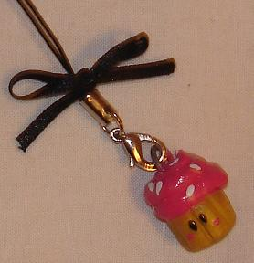 Cupcake clay cell phone strap by Kittyportugal