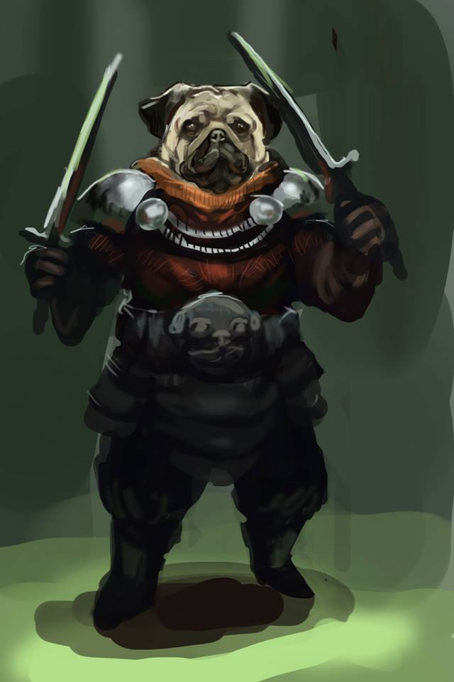 1hr speedpaint - Pug Warrior by matt-radway