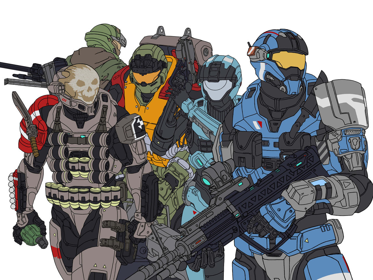 Halo Reach Noble Team Flat Colours by leonalmasy on DeviantArt