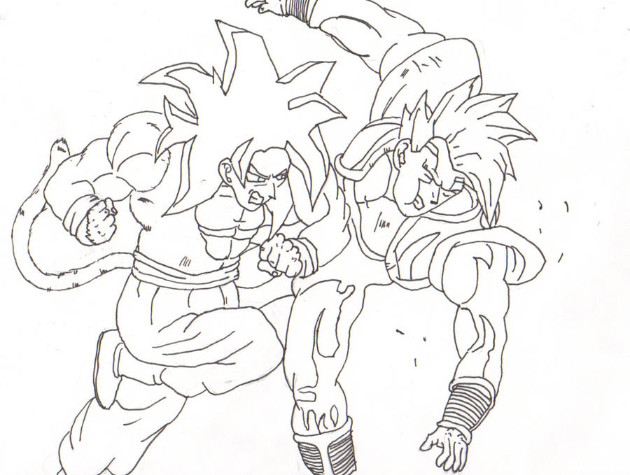 Goku V.S. Baby Line art by dtwothaniel on DeviantArt