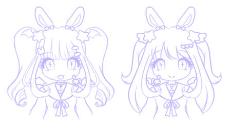 Devil Angel Bunny Twins (Sketch)