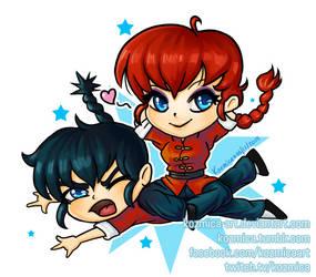 Ranma 1/2 Chibi, girl and boy by kozmica64