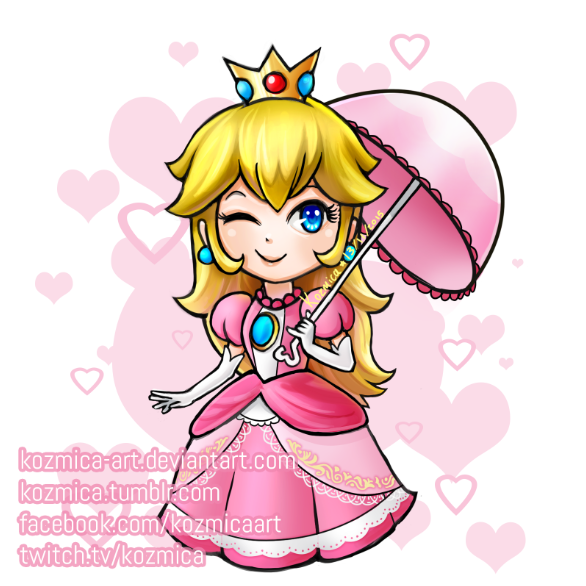 Princess Peach - Chibi by kozmica64