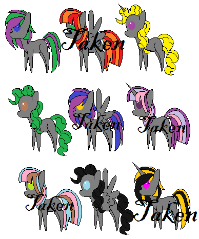 Grey Adoptable Pony Pack by BlueBookWard