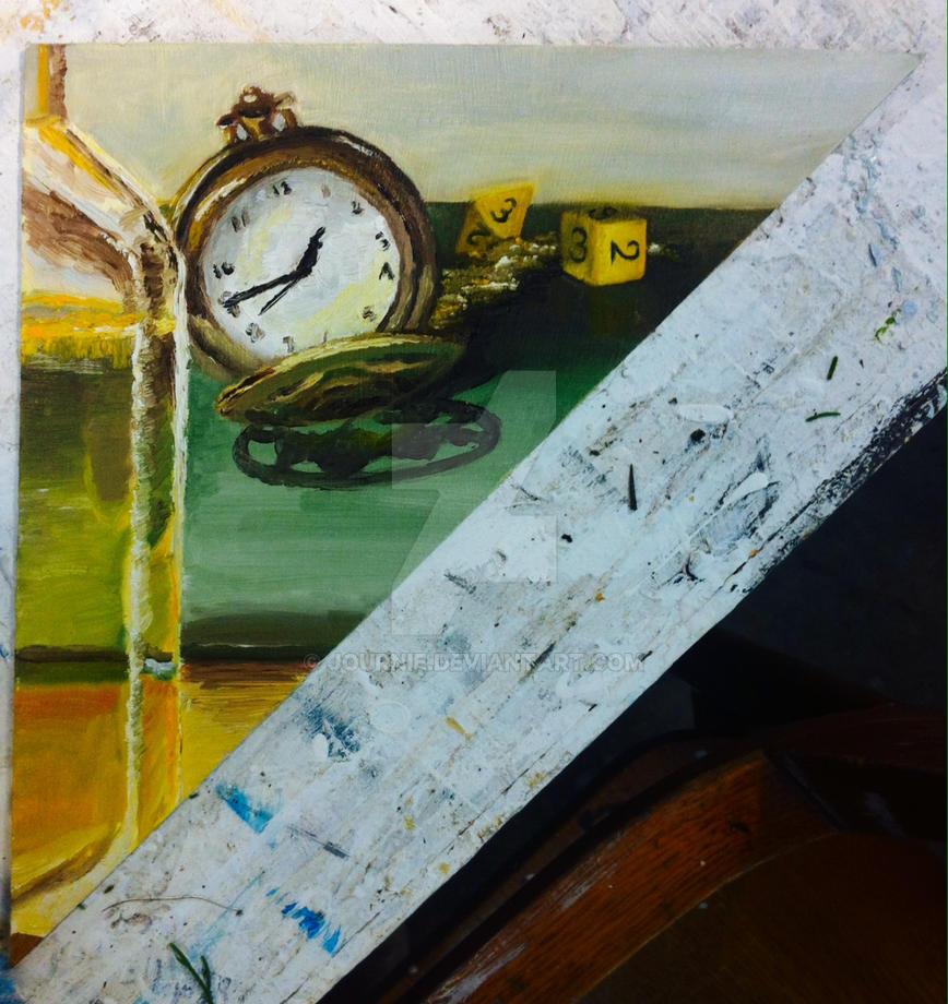 Alla Prima Pocket-watch and Dice by Journie