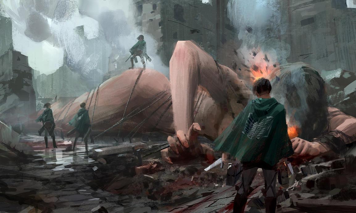 fan art of Attack on Titan by waywayart