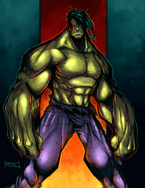 Morning Sketch - Hulk Colored by RobDuenas