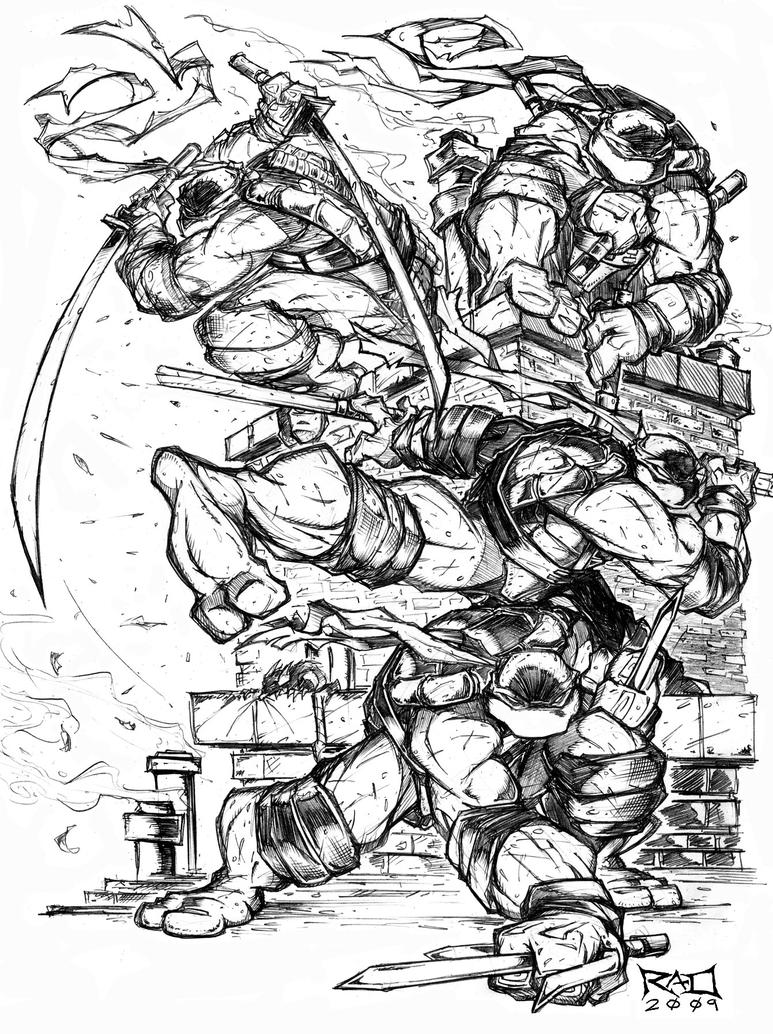 Line Art Ninja Turtles : Morning sketch tmnt final by robduenas on deviantart