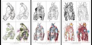 Avenger Step By Step Print Set 01