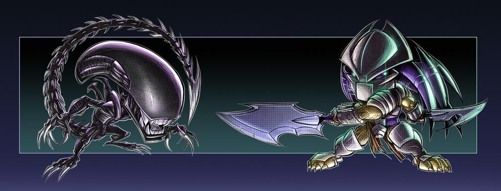 GameCave 05 - Aliens VS Predator chibis by RobDuenas