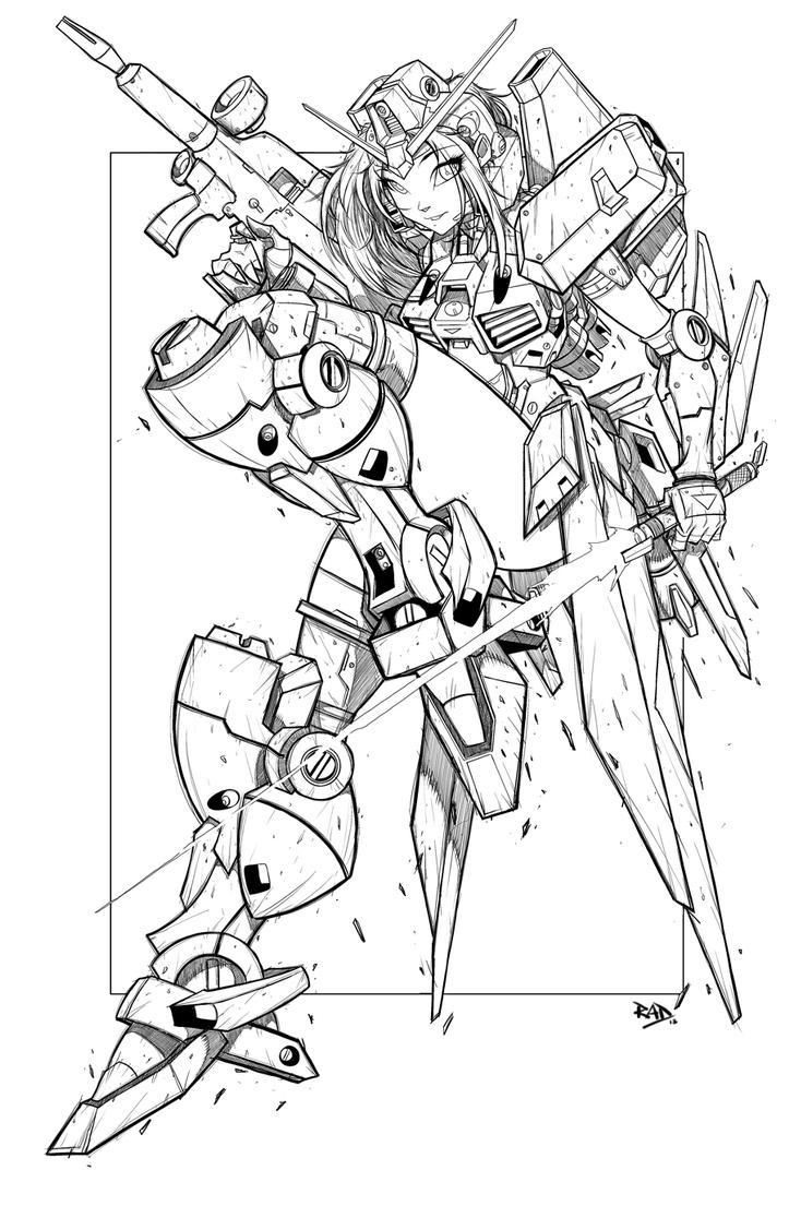 Gundam Girl Line Art by RobDuenas