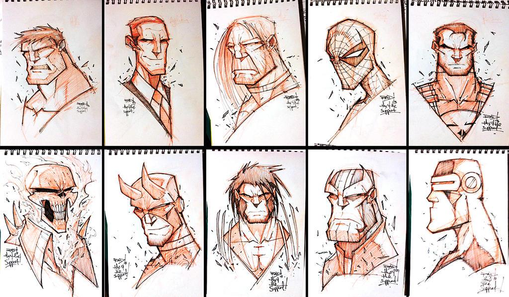 KS Random Sketchies 01-10 by RobDuenas