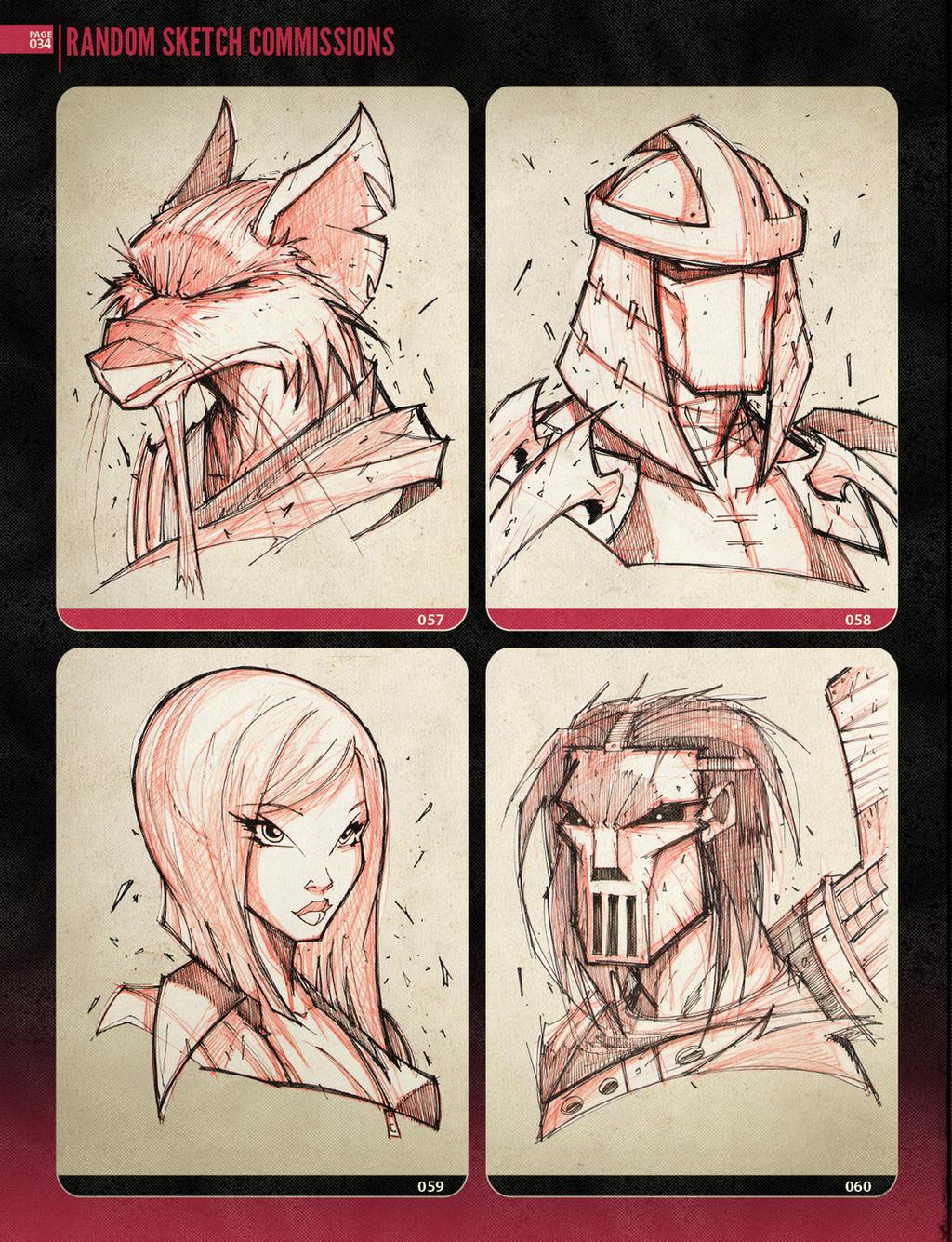 Random Sketchies 057-060 by RobDuenas