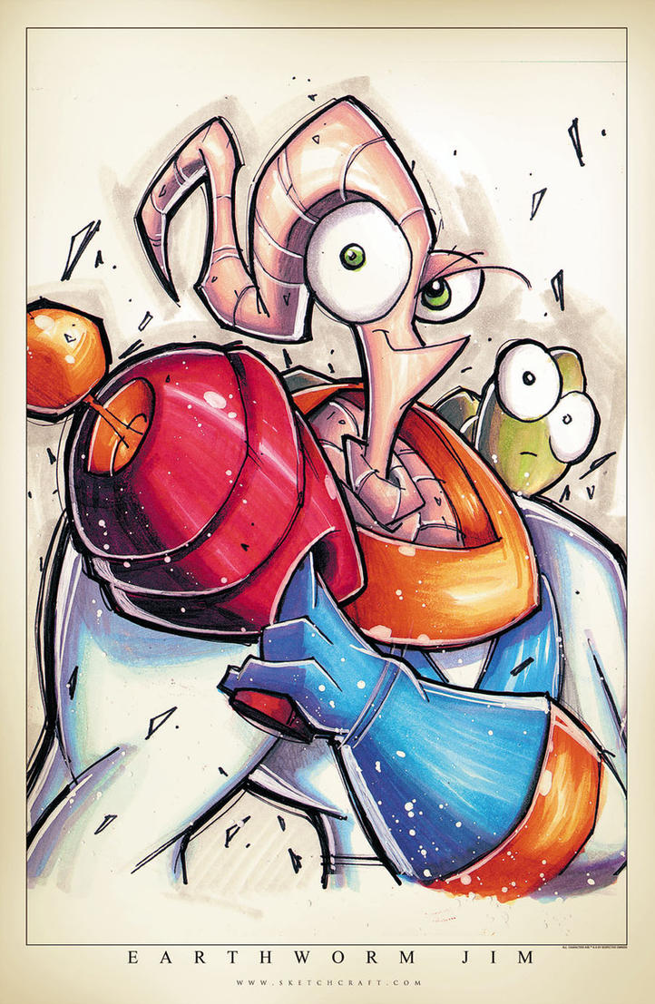 Earthworm Jim Suave by RobDuenas