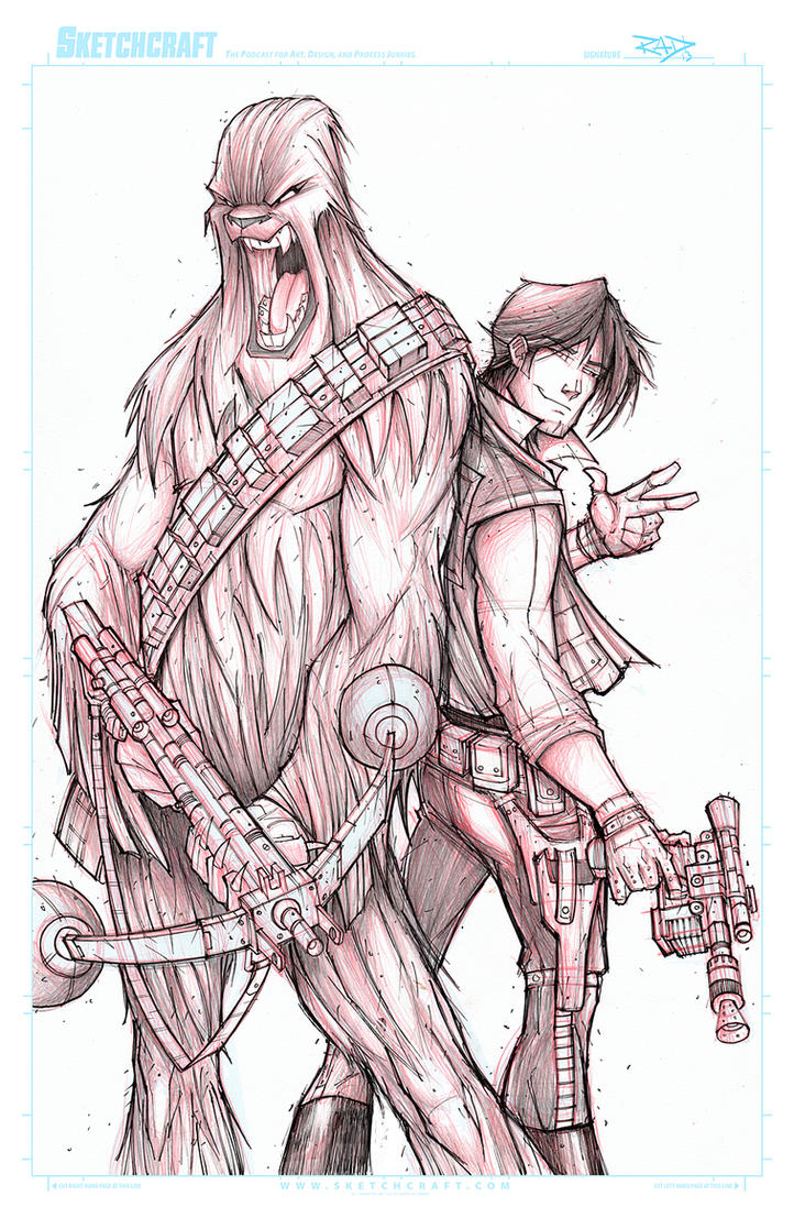 STAR WARS HAN AND CHEWIE  WIP 02 by RobDuenas