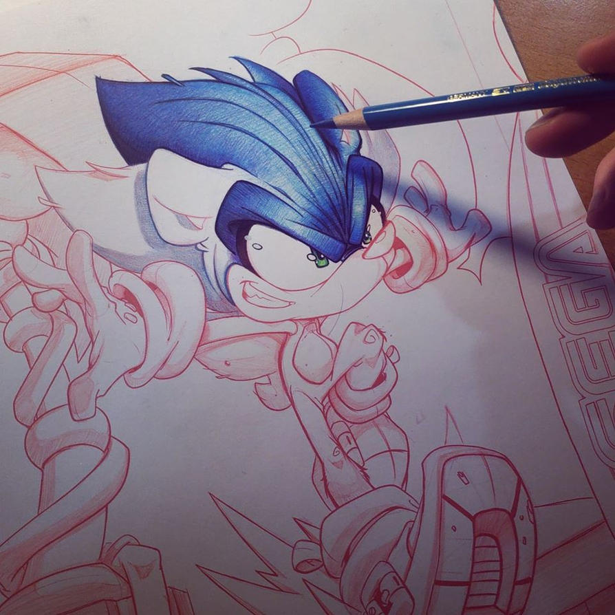 Sonic Hedgehog Commish WIP by RobDuenas