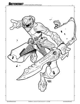Commish 2020: Red Power Ranger Linearts