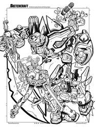 Cyber Troopers Virtual On Tribute - Linearts