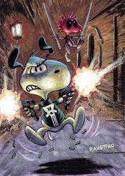 Snoopy and Woodstock as Punisher and Deadpool
