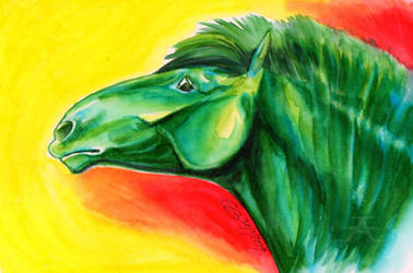 Green horse step 2 by Afuze
