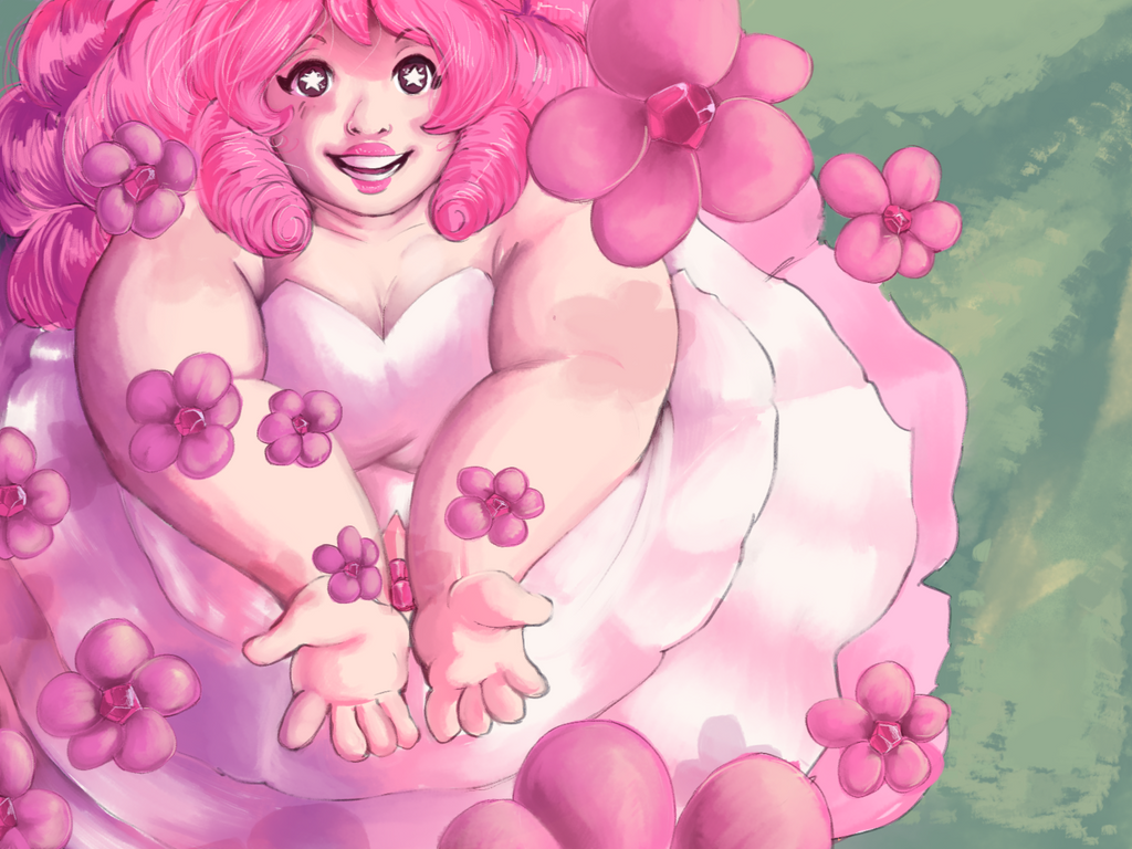 rose quartz and some flowers by riotbreaker