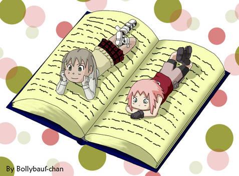 Maka and Sakura Reading Chibi