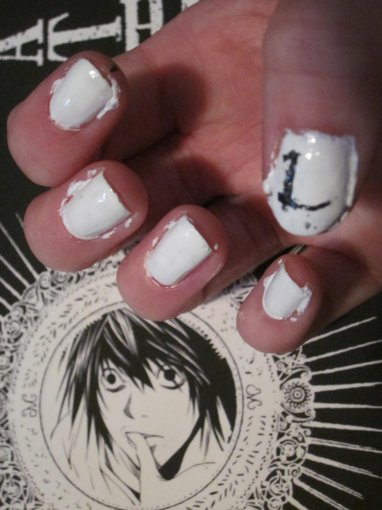 Death Note Nail Art- L by tay-bear on DeviantArt