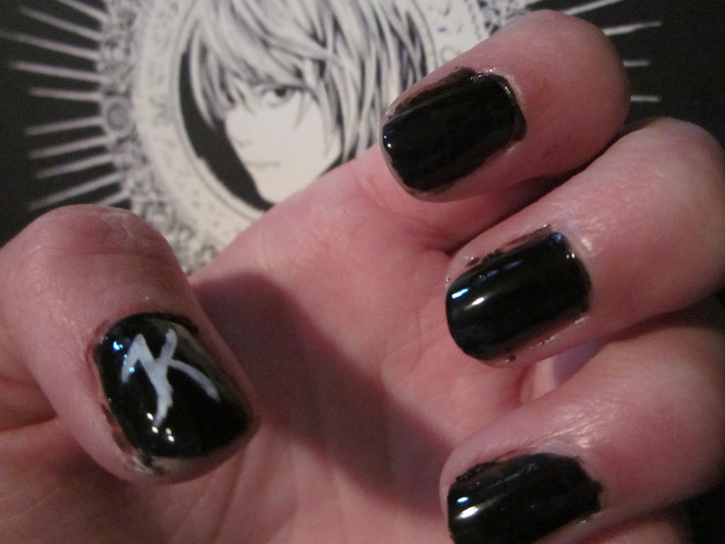 Death Note Nail Art- Kira(Light Yagami) by tay-bear on DeviantArt