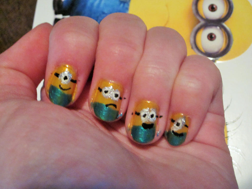 Minion Nail Art by tay-bear