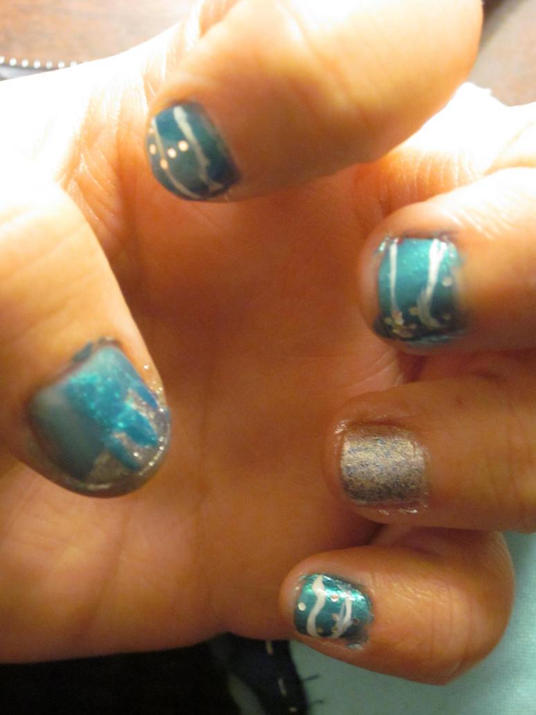 Vapreon nail art by tay-bear