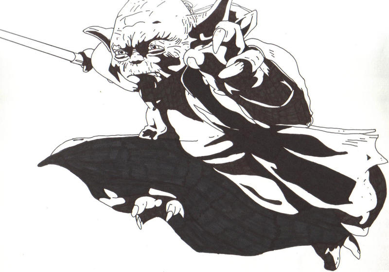 Line Drawing Yoda : Yoda high contrast by agua de diablo on deviantart