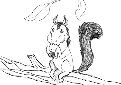 Horse Squirrel - Lineart