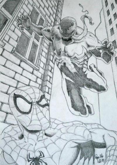 Spiderman and venom sketch