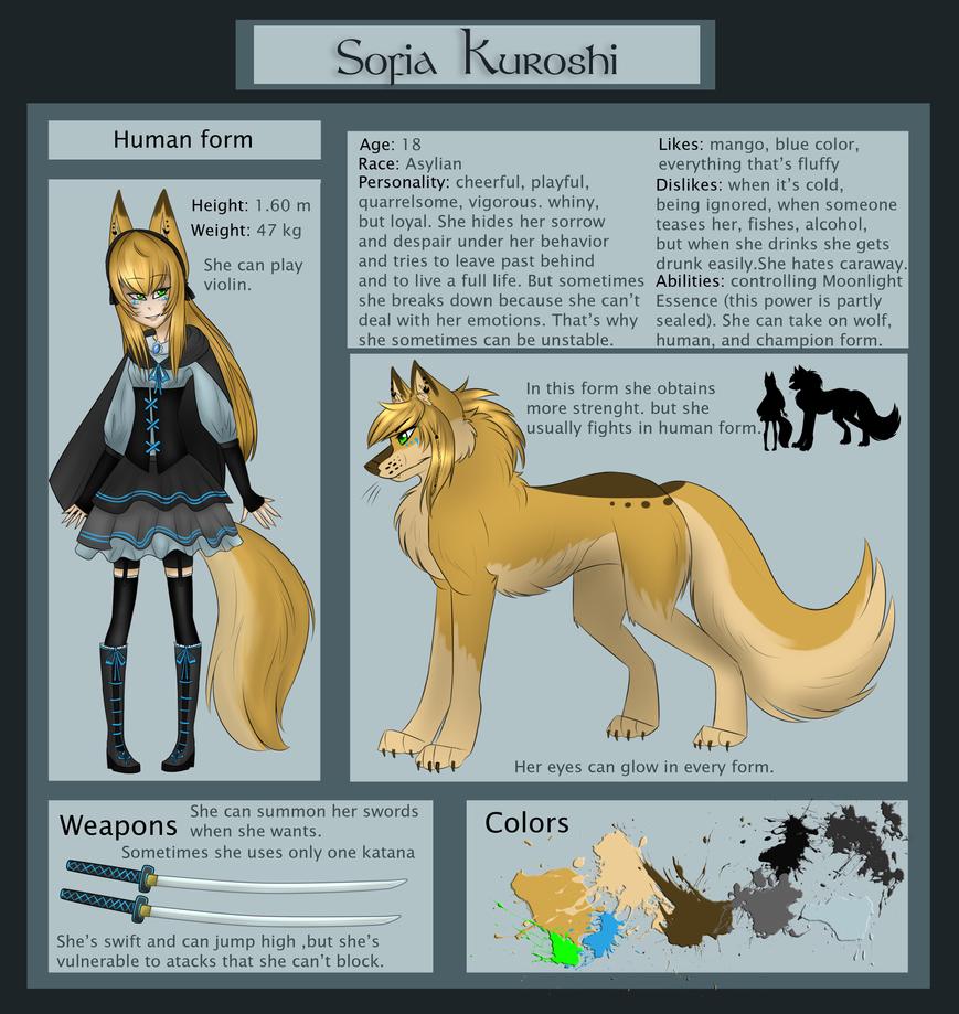 Sofia Kuroshi Reference Sheet by Sofia-Moonwolf