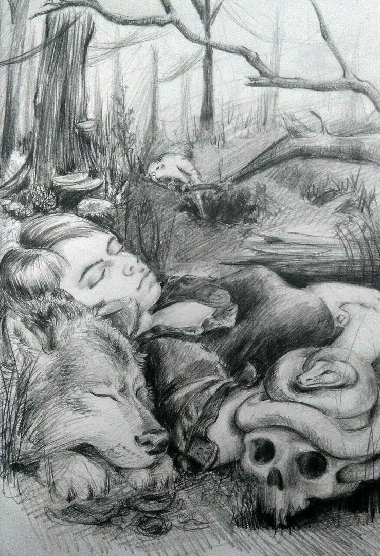 Self portrait with animals by TheMerilineth