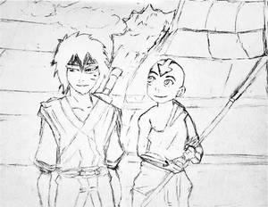 Pencil art Zuko and Aang