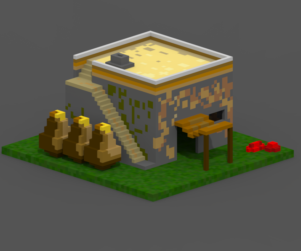 Age of Empires 1 Hut Voxel by Mendelian