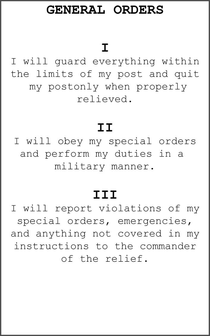 general orders essay Following orders essay by: spc berg, markus why is it important to follow orders and instructions from a military standpoint the difference can mean life or death for a soldier.
