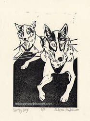 Spotty Boys linoprint 4x6 small by ZulayaWolf